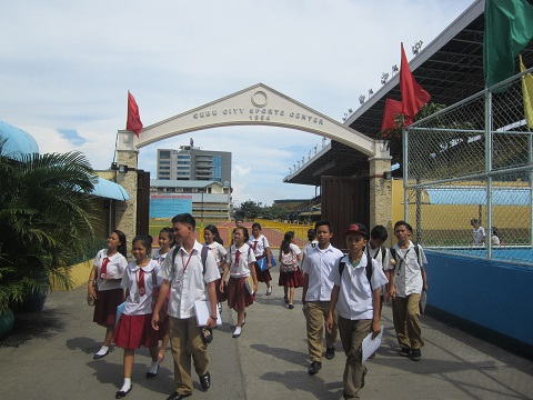 Students at the Cebu City Sports Center