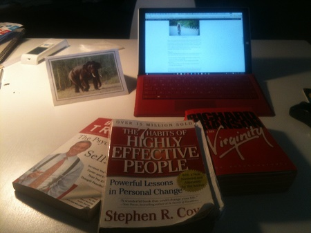 "Inspiring books on my desk, not to forget the elephant, my ""power animal"";)"